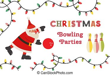 Template Design Poster Christmas bowling vector