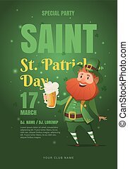 Template design poster vector for St. Patrick's party.