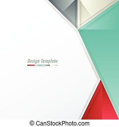 Template Design Triangle  White, red, green, gray