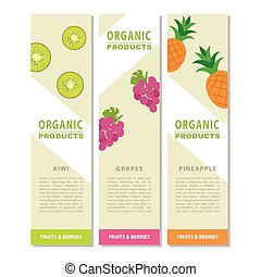Template design vertical banner with the decor of the fruit.