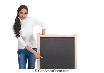 template ? ethnic Indian student by blackboard