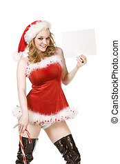 Template - Excited pin up Mrs Santa Claus with huge candy cane