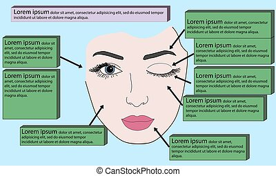 Template face for makeup. Vector illustration