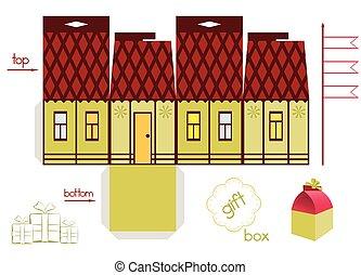 Template Fairy Tale House Gift Box