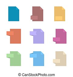 Template file format flat icons, vector illustration.