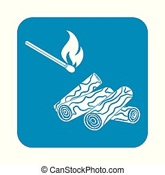 template - Firewood and matches icon on a white background....