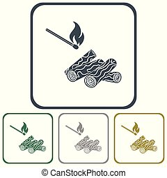 template - Firewood and matches icon Vector illustration