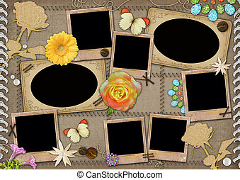 Template for a collage photo. Photoframeworks in a retro...