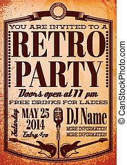 template for a retro party, concert, events