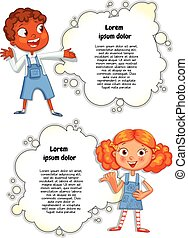 Template for advertising brochure with a cute children - ...