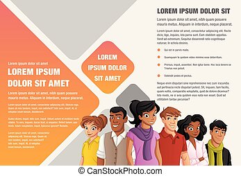 cartoon people - Template for advertising brochure with...