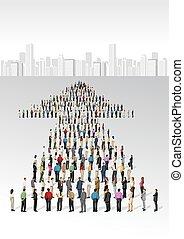 business people in shape of arrow