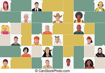 cartoon people faces - Template for advertising brochure...
