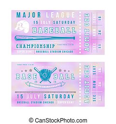 Template for baseball ticket. Print on blurred background