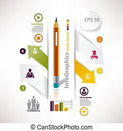 Template for business infographic with cutout and pencil