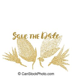 Template for card, banner, flyer, save the date (wedding) invitation , birthday party, with golden flowers.