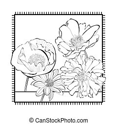 Template for card with decorative flowers