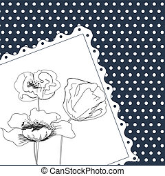 Template for card with flowers