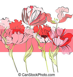 Template for card with red flowers