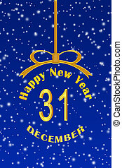 Template for congratulations on the New year in the form of a Christmas ball with an inscription and date, blue Christmas background