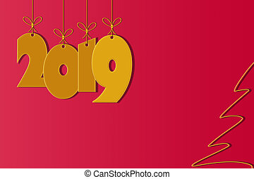 Template for creating greetings with the New Year 2019, red background, place for inscription