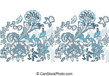 Template for cross stitch blue ethnic flowers. The vector embroidered flowers