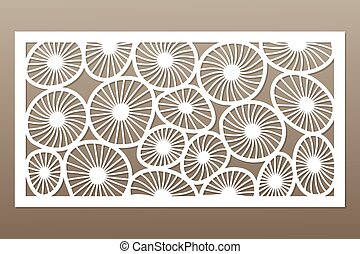 Template for cutting. Round art pattern. Laser cut. Set ratio 1:2. Vector illustration.