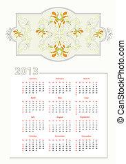 Template for decorative calendar
