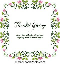 Template for design poster thanksgiving background, with vintage pink flower frame. Vector
