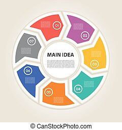 Template for diagram, graph, presentation and chart. Business concept with 7 options, parts, steps or processes. Vector infographic