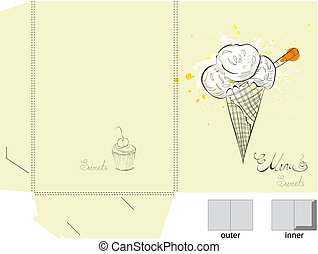 Template for folder with ice cream