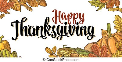 Template for greeting card and poster Thanksgiving day with...
