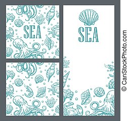 Template for greeting card and seamless pattern. Sea shell, octopus