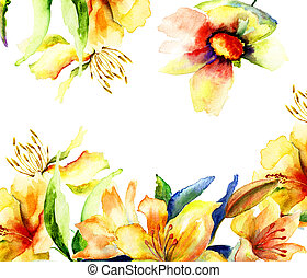 Template for greeting card with colorful Yellow flowers