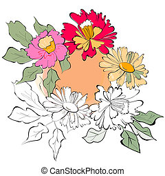 Template for greeting card with flowers