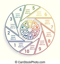 Template for info-grapchics 10 cyclic processes, step by...