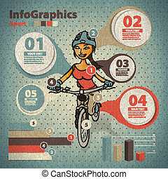 Template for infographic about cycling with a girl in vintage style
