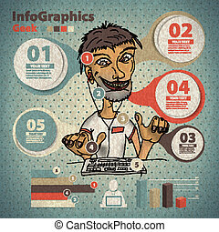 Template for infographic with a geek and programmer in vintage style