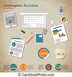 Template for infographic with desktop businessman in vintage style