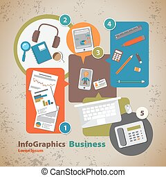 Template for infographic with symbol of the business and interne