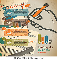 Template for infographic with writing hand and office paper in vintage style