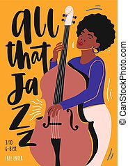 Template for jazz club invitation, music band performance or concert flyer with female musician playing double bass and lettering. Vector illustration in contemporary flat style for event promotion.