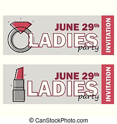 template for Ladies night party flyer, bachelorette party invitation, vector