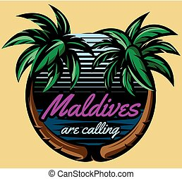 Template for logo on the theme of tourism with palm trees -...