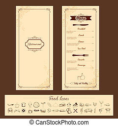 illustration of template for menu card with cutlery on floral background