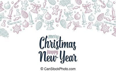 Template for Merry Christmas Happy New Year greeting card
