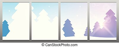 Template for Modular Picture. Winter Forest Woodland Landscape with Pine and sunshine.