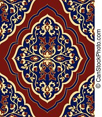 Template for oriental carpet. - Colorful, floral ornament....