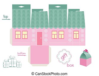 Template For Pink House Gift Box