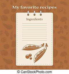 Template for recipe books